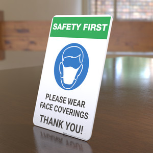 Safety First: Please Wear Face Coverings with Icon Portrait - Desktop Sign