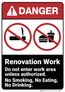 Danger: Renovation Work Do Not Enter ANSI - Wall Sign
