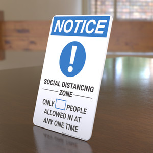 Notice: Social Distancing Zone with Icon Portrait - Desktop Sign