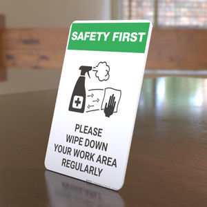 Safety First: Please Wipe Down Work Area with Icon Portrait - Desktop Sign