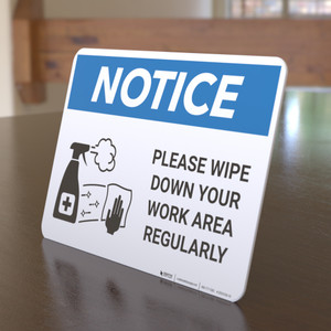 Notice: Please Wipe Down Work Area with Icon Landscape - Desktop Sign