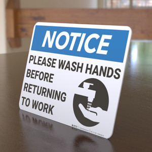 Notice: Please Wash Hands Before Returning To Work Handwashing Icon Landscape - Desktop Sign