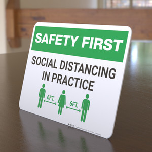 Safety First: Social Distancing in Practice Landscape - Desktop Sign