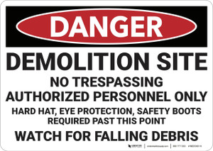 Danger: Demolition Site No Trespassing - Wall Sign