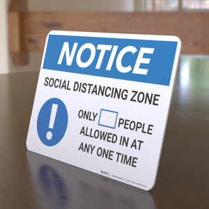 Notice: Social Distancing Zone with Icon Landscape - Desktop Sign