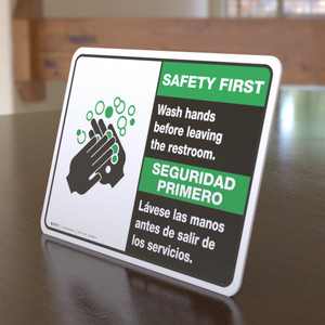 Safety First: Wash Your Hands Before Leaving Restroom Bilingual with Icon Landscape - Desktop Sign