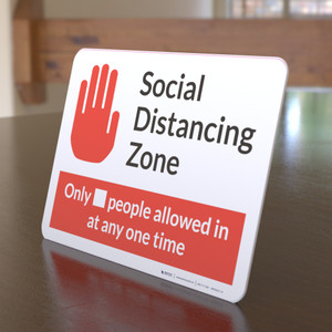 Social Distancing Zone with Icon Red Landscape - Desktop Sign