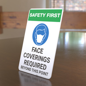 Safety First: Face Coverings Required Beyond This Point with Icon Portrait - Desktop Sign