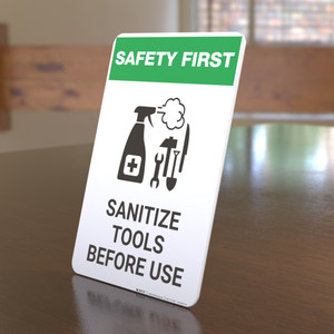 Safety First: Sanitize Tools Before Use with Icon Portrait - Desktop Sign