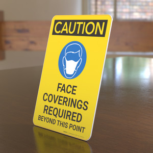 Caution: Face Coverings Required Beyond This Point with Icon Portrait - Desktop Sign