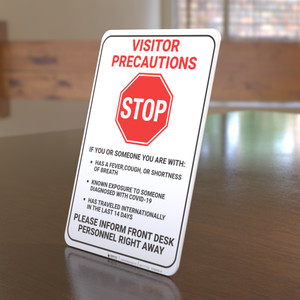 Visitor Precaution Covid-19 - Desktop Sign
