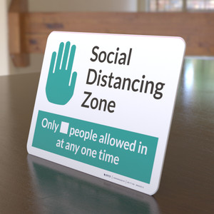 Social Distancing Zone with Icon Green Landscape - Desktop Sign
