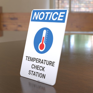 Notice: Temperature Check Station with Icon Portrait - Desktop Sign