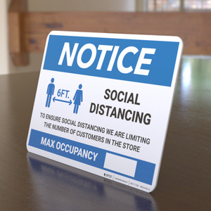 Notice: Social Distancing Max Occupancy with Icon Landscape - Desktop Sign
