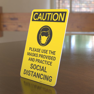 Caution: Please Use the Masks Provided and Practice Social Distancing with Icon Portrait - Desktop Sign