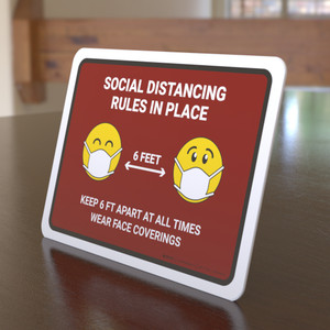 Social Distancing Rules In Place with Emojis Red Landscape - Desktop Sign