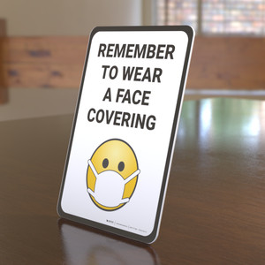 Remember to Use Face Covering with Emoji Portrait - Desktop Sign