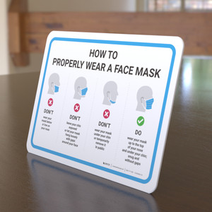 How To Properly Wear A Face Mask with Icons Landscape - Desktop Sign