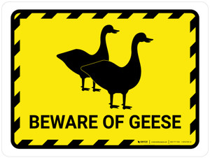 Beware Of Geese Yellow Hazard Landscape - Wall Sign