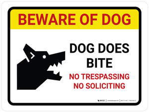 Beware Of Dog Dog - Does Bite No Trespassing Landscape - Wall Sign