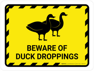 Beware Of Duck Droppings Yellow Hazard Landscape - Wall Sign