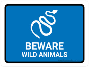 Beware Wild Animals Blue Landscape - Wall Sign