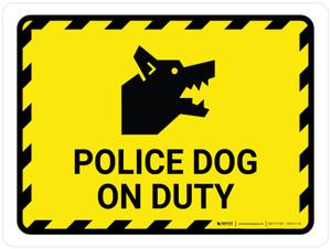 Police Dog On Duty Yellow Hazard Landscape - Wall Sign