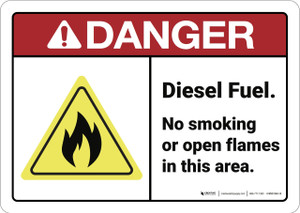 Danger: Diesel Fuel No Smoking ANSI - Wall Sign