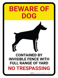 Beware Of Dog Contained By Invisible Fence Portrait - Wall Sign