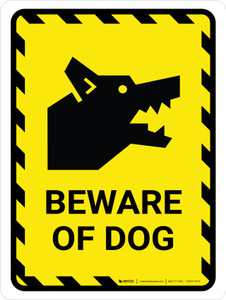 Beware Of Dog Yellow Hazard Portrait - Wall Sign
