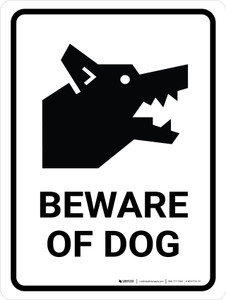 Beware Of Dog Portrait - Wall Sign