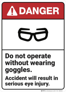 Danger: Do Not Operate Without Goggles ANSI - Wall Sign