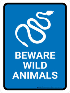 Beware Wild Animals Blue Portrait - Wall Sign