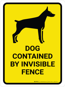 Dog Contained By Invisible Fence Portrait - Wall Sign