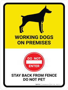 Working Dogs On Premises Portrait - Wall Sign