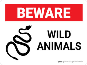 Beware Wild Animals Landscape - Wall Sign