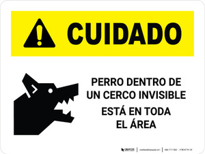 Caution: Dog Contained By Invisible Fence Spanish Landscape - Wall Sign