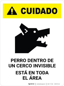 Caution: Dog Contained By Invisible Fence Spanish Portrait - Wall Sign
