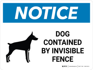 Notice: Dog Contained By Invisible Fence Landscape - Wall Sign