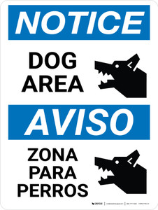 Notice: Dog Area Bilingual Portrait - Wall Sign