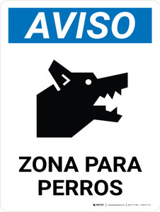 Notice: Dog Area Spanish Portrait - Wall Sign