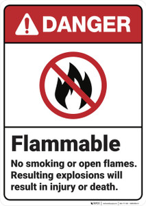 Danger: Flammable No Smoking or Open Flames ANSI - Wall Sign