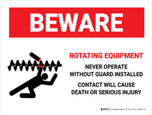 Beware: Rotating Equipment Landscape - Wall Sign