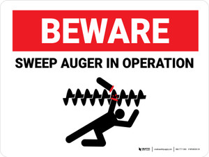 Beware: Sweep Auger In Operation Landscape - Wall Sign