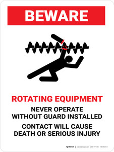 Beware: Rotating Equipment Portrait - Wall Sign