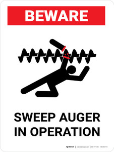 Beware: Sweep Auger In Operation Portrait - Wall Sign