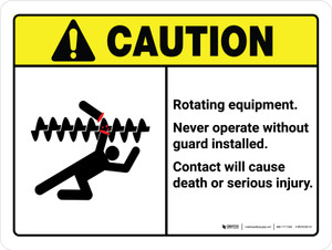 Caution: Ansi Rotating Equipment Landscape - Wall Sign