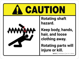 Caution: Ansi Rotating Shaft Hazard Keep Body Landscape - Wall Sign