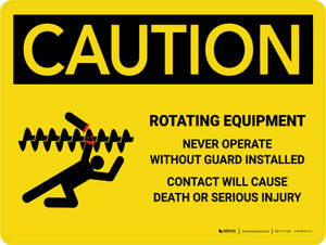 Caution: Rotating Equipment Landscape - Wall Sign