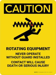 Caution: Rotating Equipment Portrait - Wall Sign